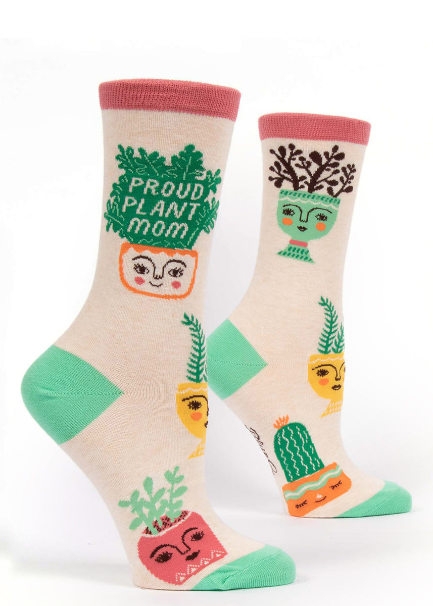 "House plant socks for women that say ""Proud Plant Mom"" with smiling potted plants"