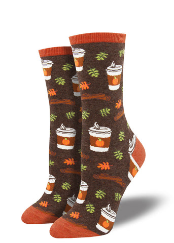 Pumpkin spice latte socks for women with fall leaves, cinnamon sticks and coffee cups