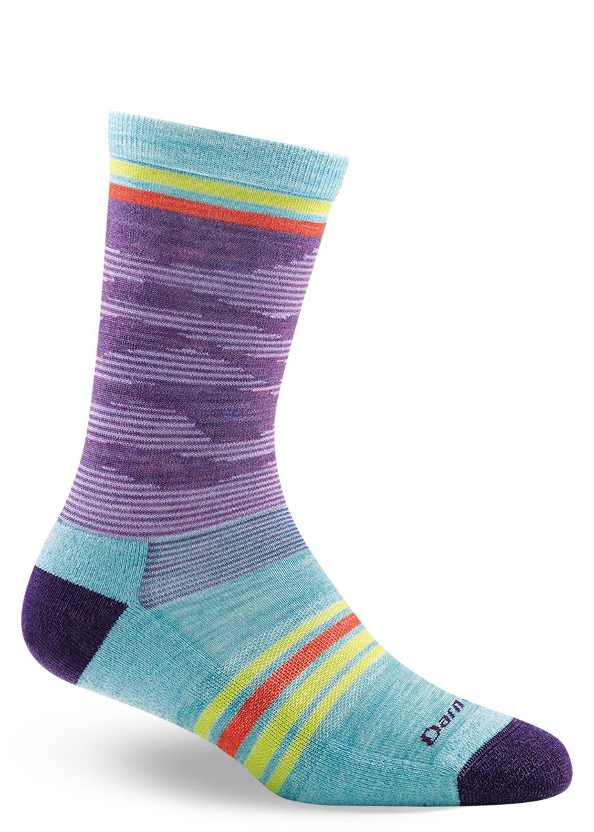Performance merino wool socks for women from Darn Tough Vermont with waves of purple and stripes of color.