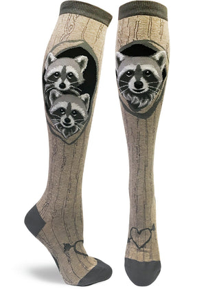 Knee-high raccoon socks for women with cute raccoons in tree dens, formed by the tree bark pattern socks