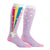 These unicorn knee socks for women show rainbows coming out of a unicorn's butt