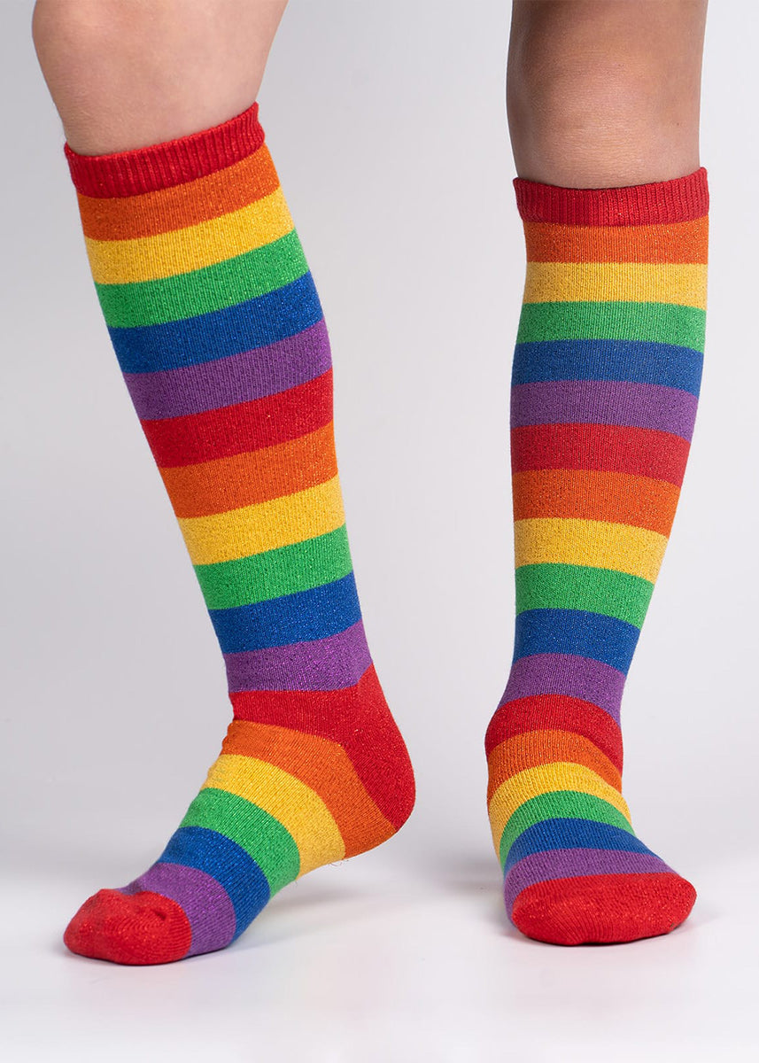 Knee high socks for kids come in rainbow stripes that sparkle!