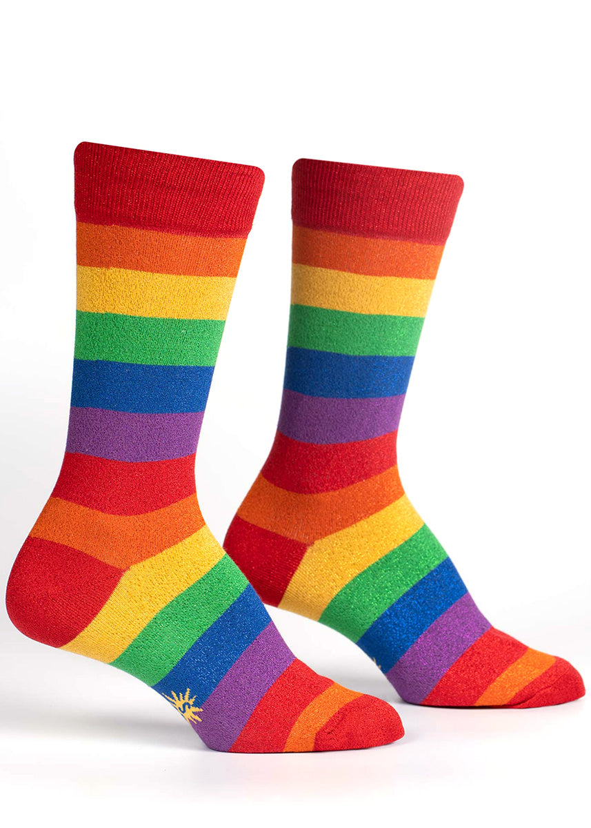Rainbow stripe crew socks feature a glitter version of every color!