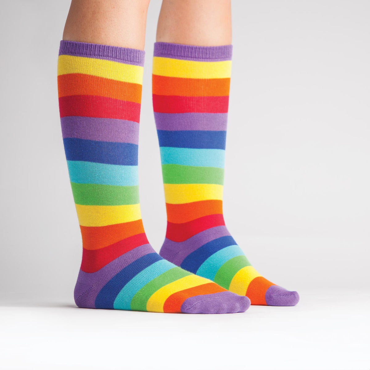 Brighten any rainy day with these rainbow striped knee-high socks for kids!