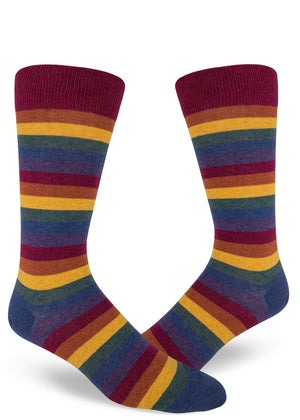 Muted rainbow socks for men with dark colored rainbow stripes and heather thread
