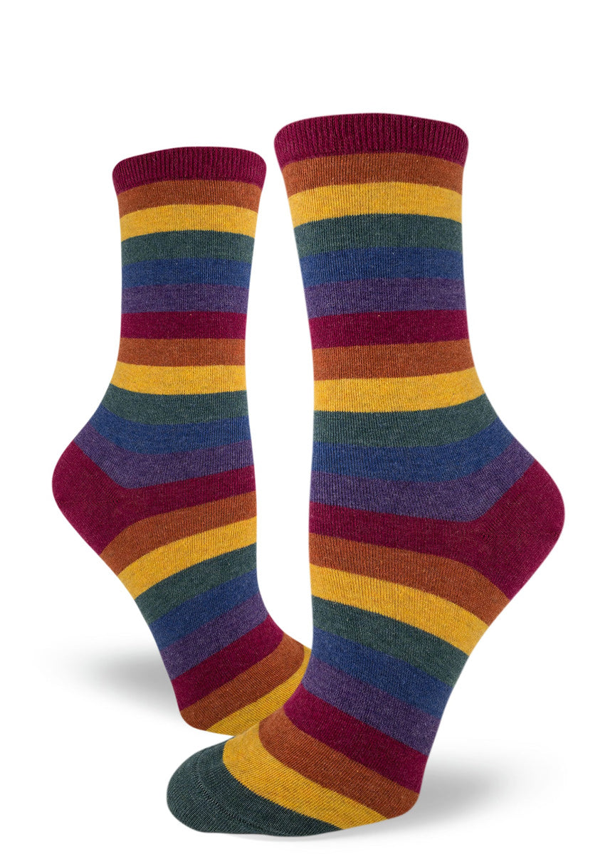 Rainbow stripe socks for women with muted rainbow colors in heather thread for a darker rainbow effect