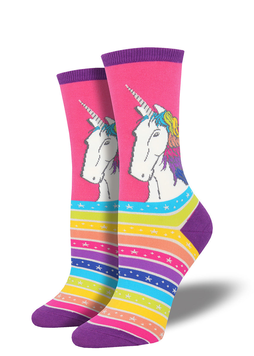 Unicorns with rainbow hair on rainbow-striped unicorn socks for women.