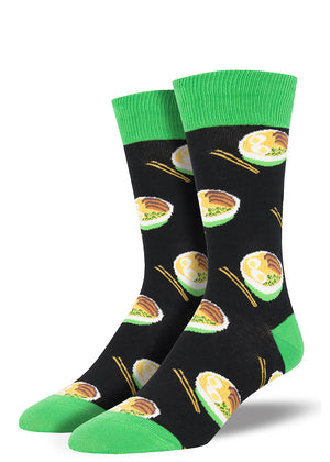Ramen socks for men with bowls of Japanese ramen noodle soup