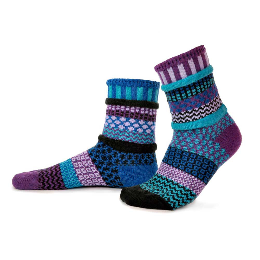 Crew socks in blue, purple and black.