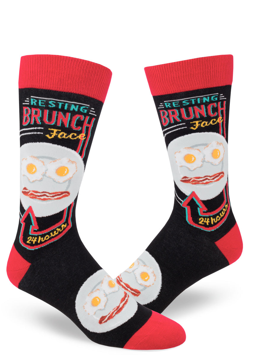 "Brunch socks for men with a face made of bacon and eggs and the words ""Resting Brunch Face"""