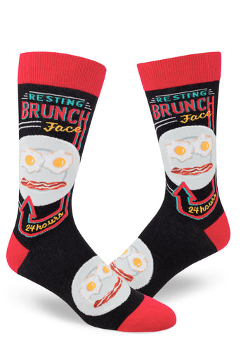 "Brunch socks for men with bacon & eggs and the words ""Resting Brunch Face"""