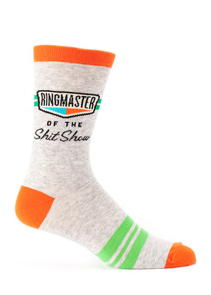"Funny men's socks that say ""Ringmaster of the Shitshow"""