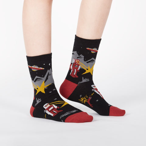 Robot socks for kids with laser zaps, UFOs & robot dogs