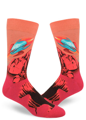 Mars planet socks for men with rockets flying against a red sky and terrain