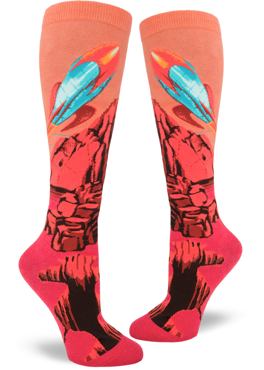 Planet socks for women with Mars rockets against red sky and terrain