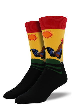 Rooster socks for men with large roosters sanding in front of a colorful sunrise