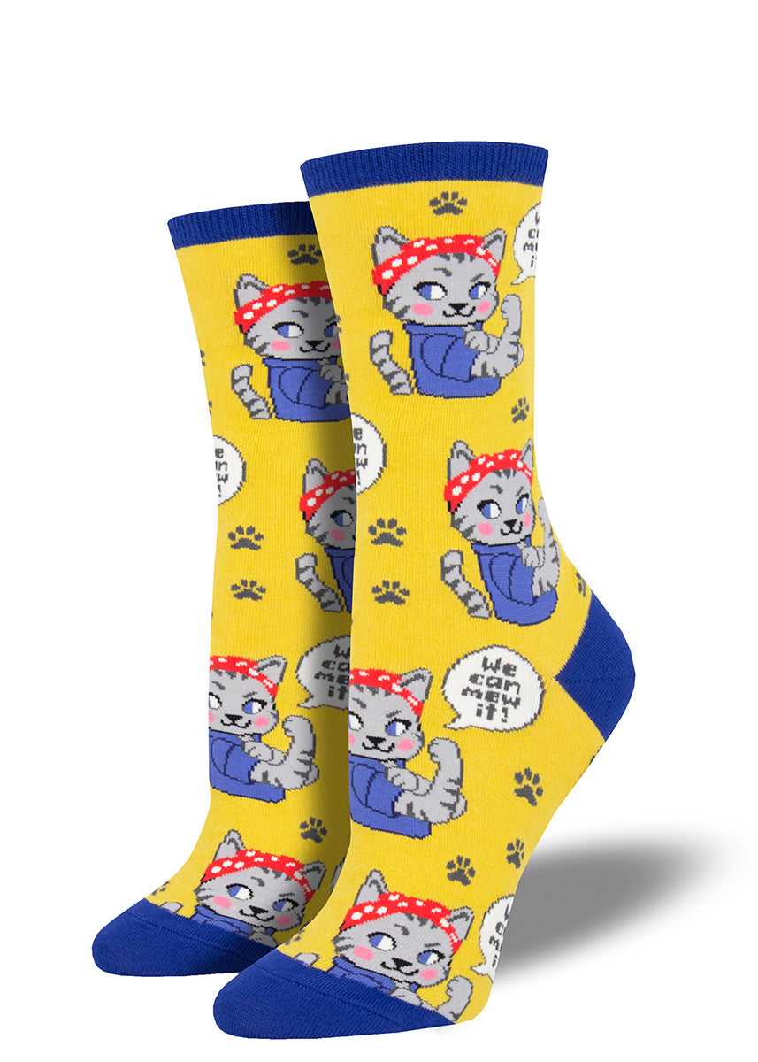 "Cute feminist cat socks for women with cat Rosie the Riveters and the words ""We Can Mew it"""