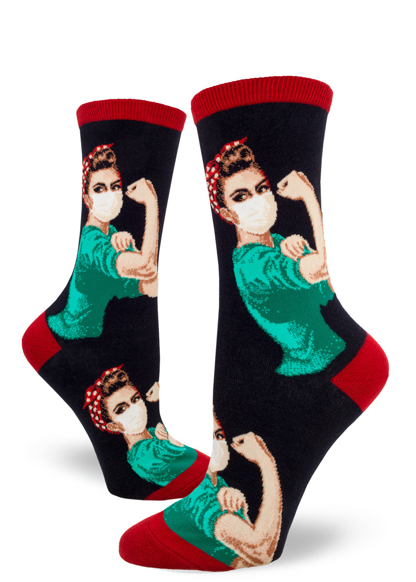 Rosie the Riveter crew socks for women show Rosie as a healthcare worker in scrubs and a face mask.