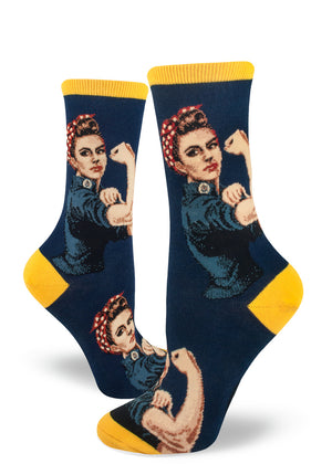 Rosie the Riveter socks for women with feminist icon Rosie the Riveter on a navy background