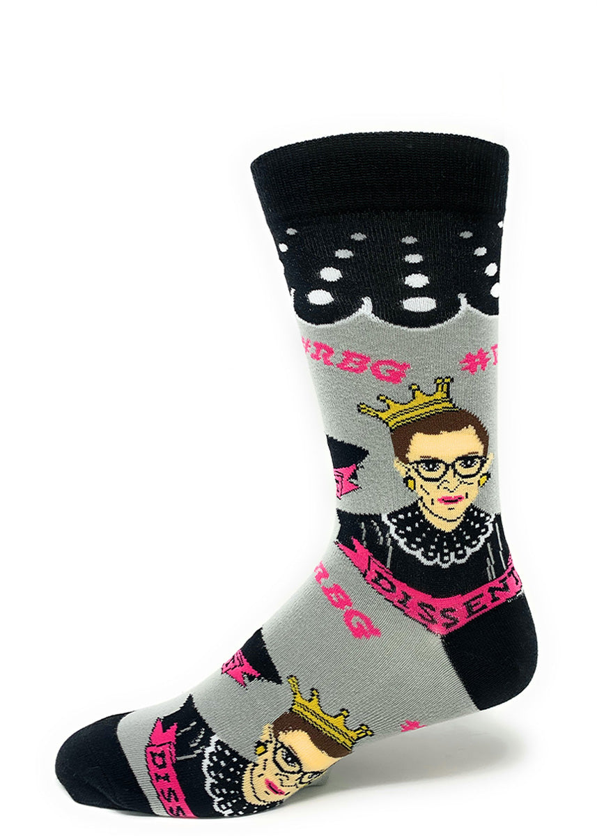 "Justice Ruth Bader Ginsburg wears a crown on these gray novelty socks that say ""Dissent."" and ""#RBG."""