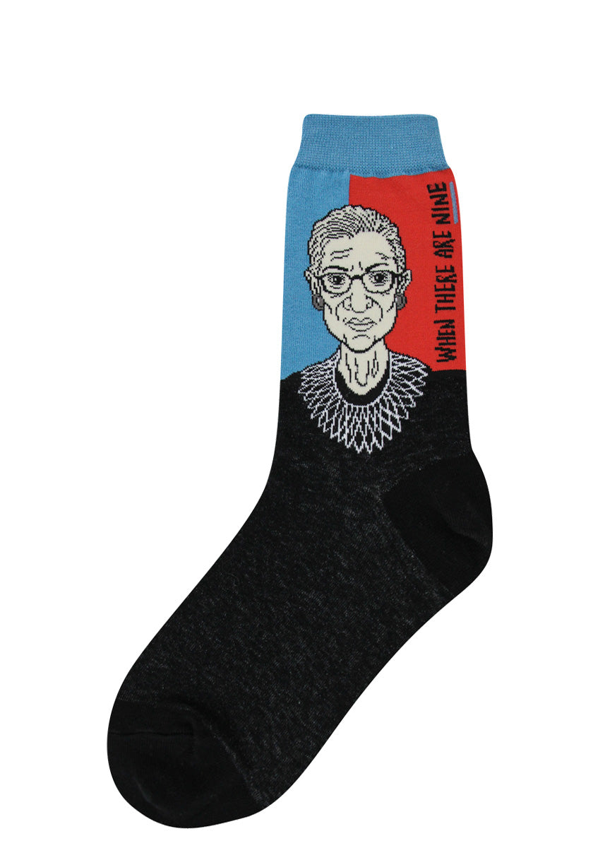 Ruth Bader Ginsburg socks for women with RGB and her quote about feminism
