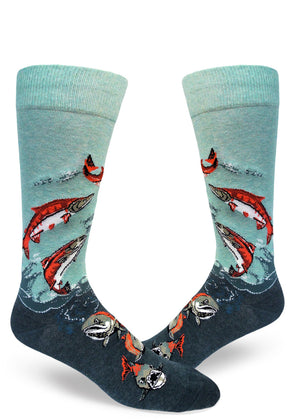 Salmon socks for men with spawning salmon swimming up a stream