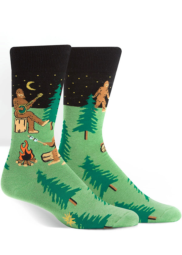 Camping Sasquatch socks for men with Bigfoot around a campfire
