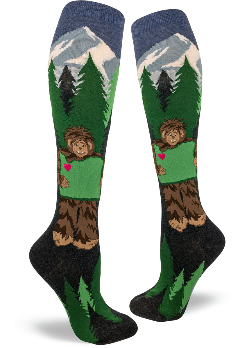 36dade507 Knee-high Sasquatch Loves Oregon socks for women with bigfoot holding  Oregon with trees