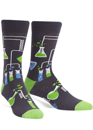 Cool chemistry socks for men with laboratory supplies like test tubes and flasks.