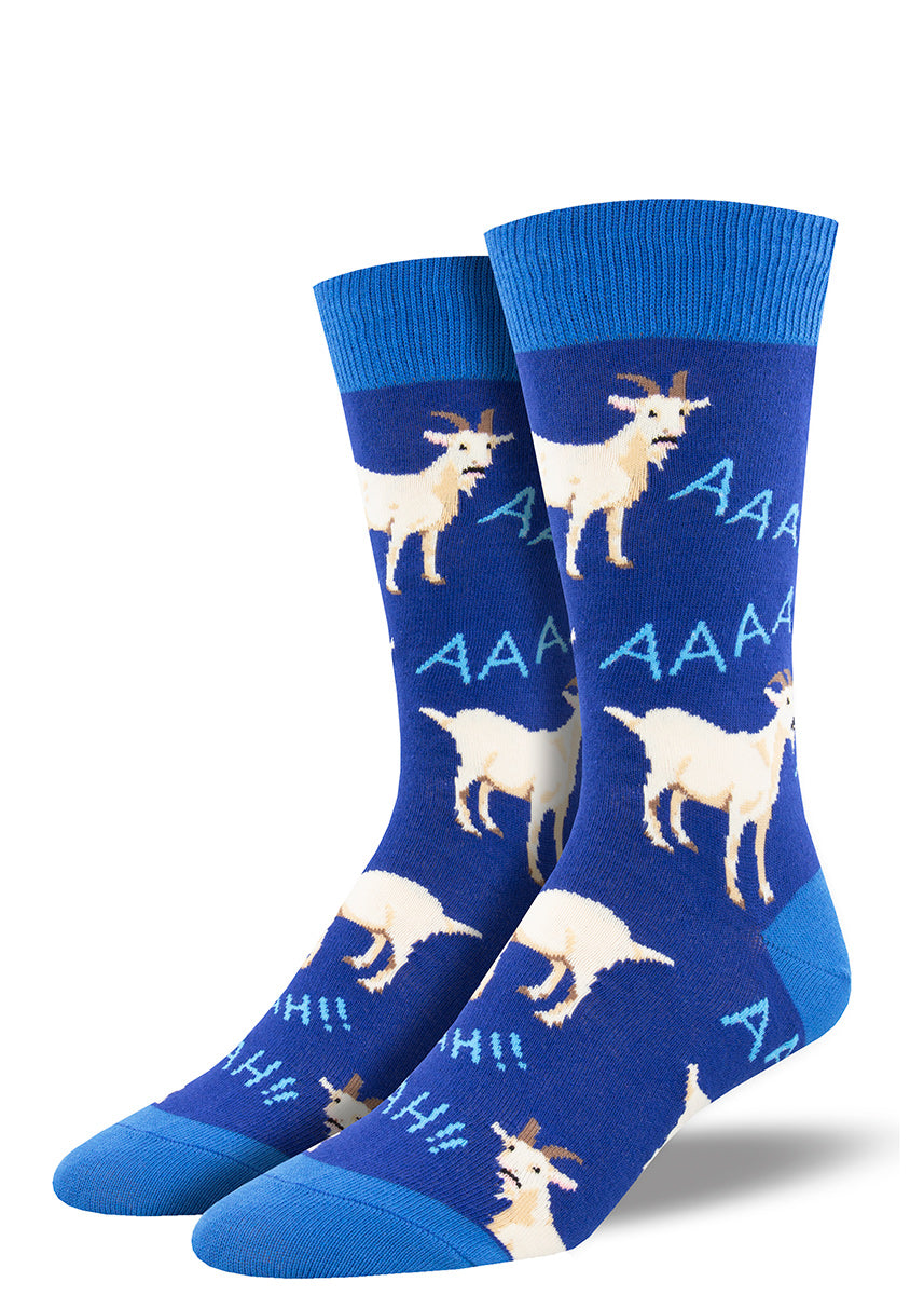 "Dark blue socks for men feature screaming goats that say ""Aaah!"""