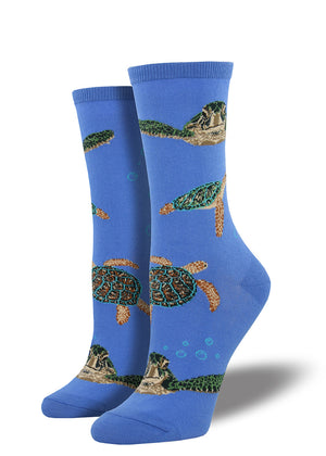 Sea turtles socks for women with sea turtles swimming in the ocean