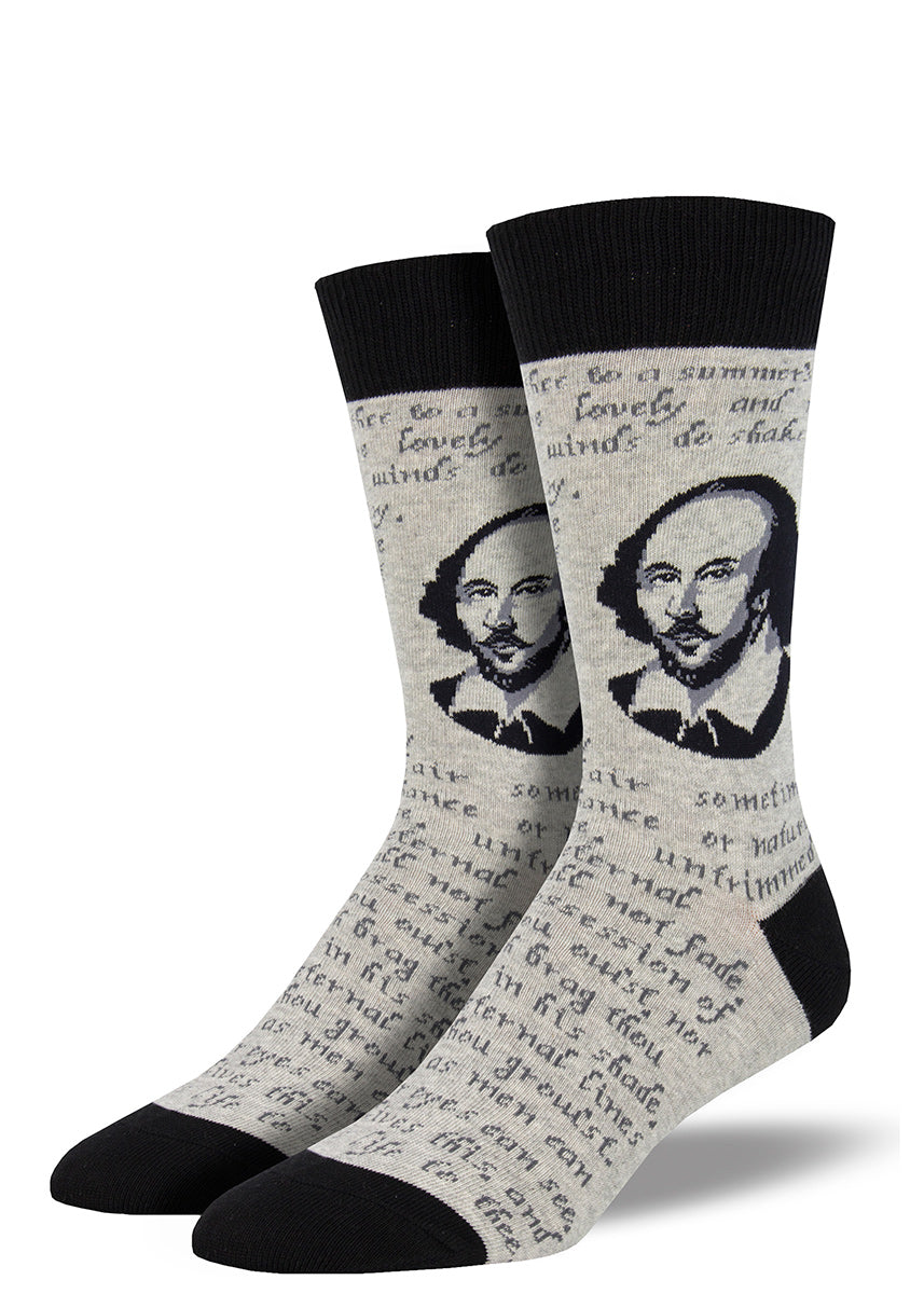 Shakespeare socks for men with the Bard's face and one of his famous sonnets on a gray background