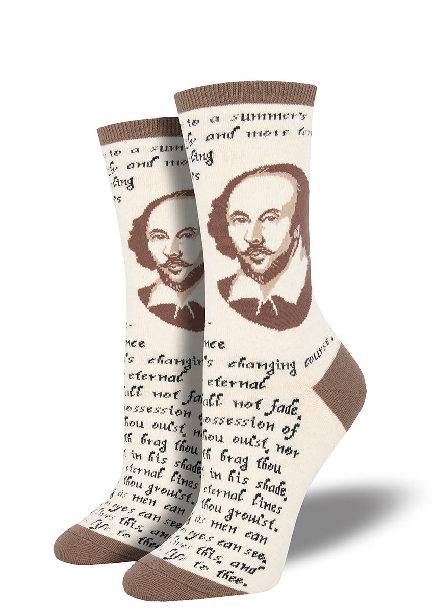 Shakespeare socks for women with William Shakespeare and a quote from his sonnet