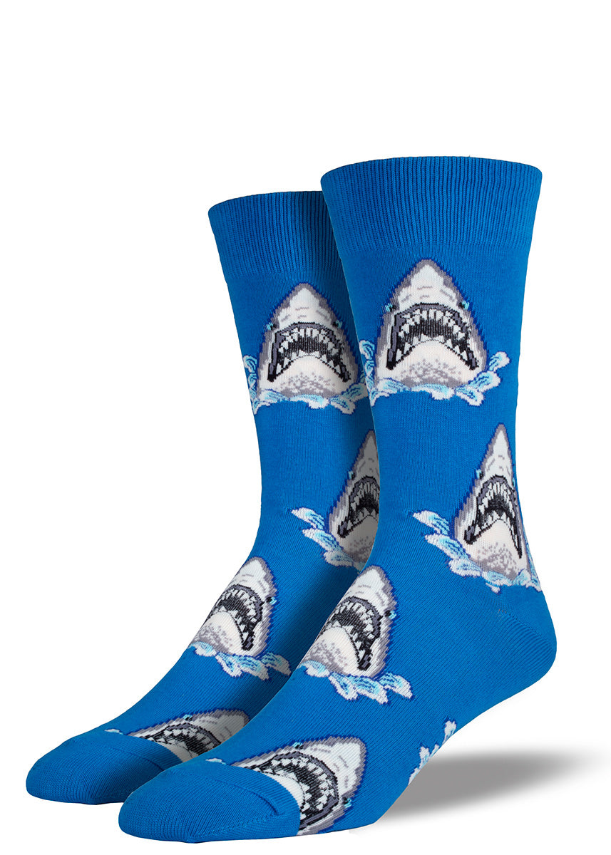 Extra large shark socks for men make your monster stompers a little scarier.