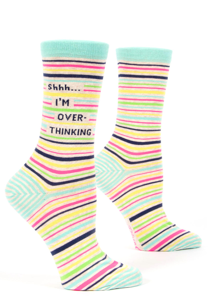 "Colorful striped socks for women say, ""Shhh I'm overthinking."""
