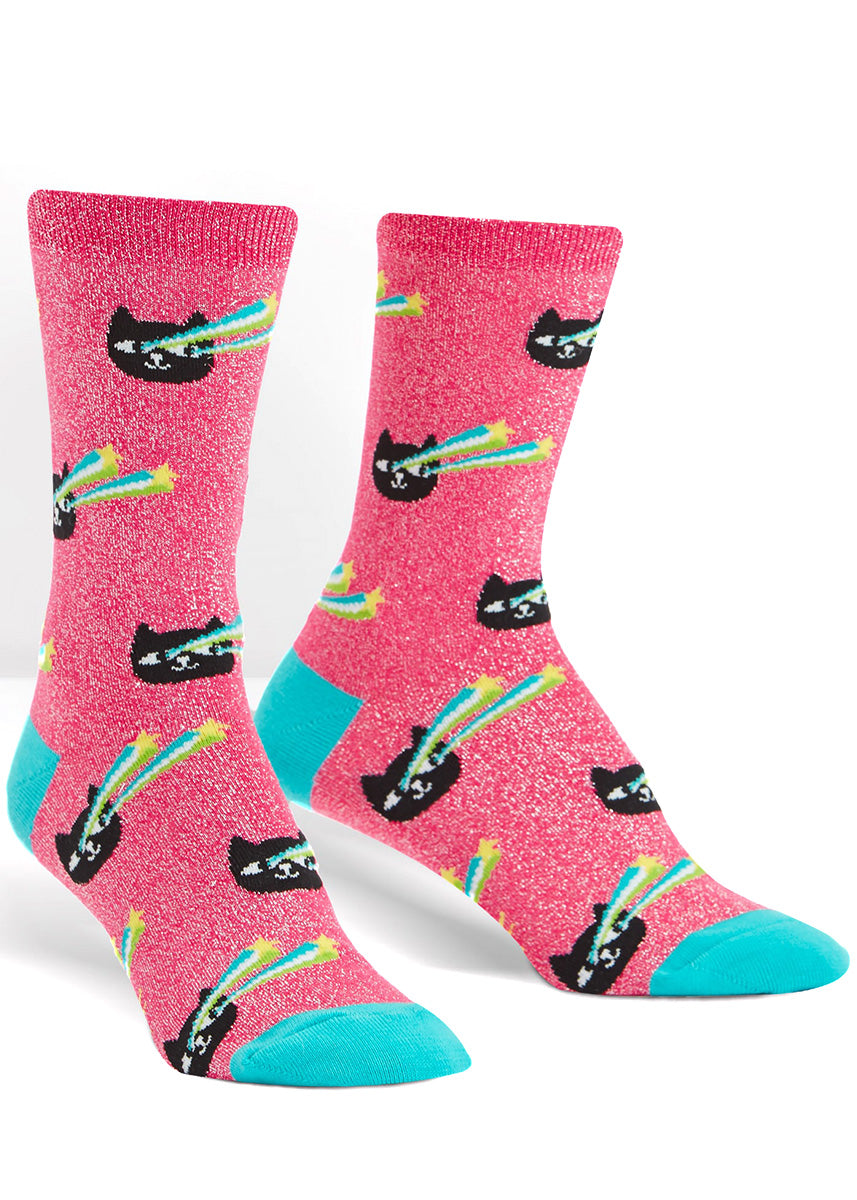 Shimmery pink cat socks for women with black cats shooting laser beams out of their eyes