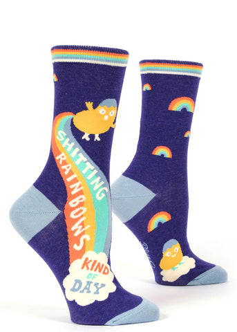 "Cute women's socks that say ""Shitting Rainbows Kind of Day"""