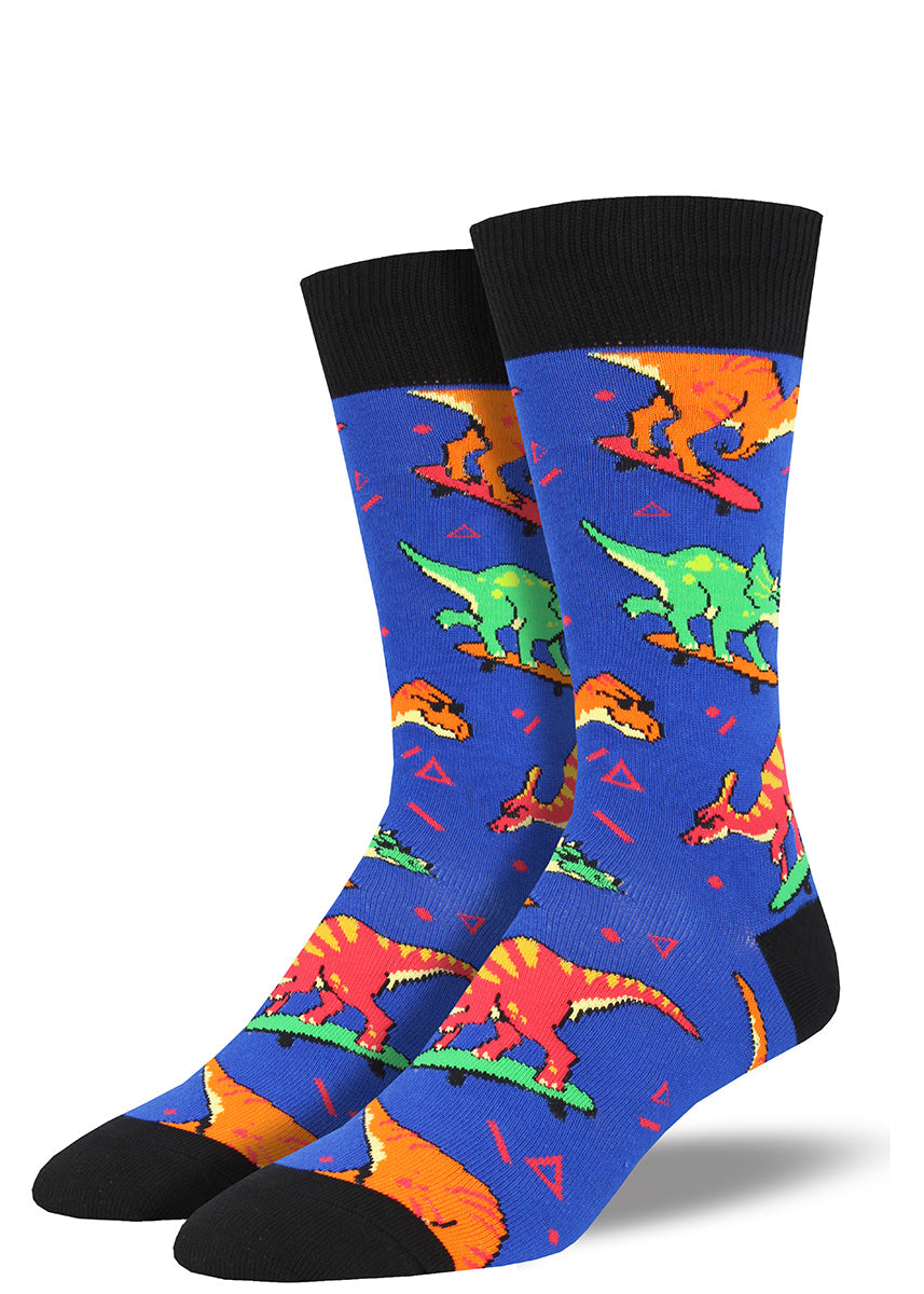 Cool dinosaurs ride skateboards on these men's dinosaur socks with '90s flair.