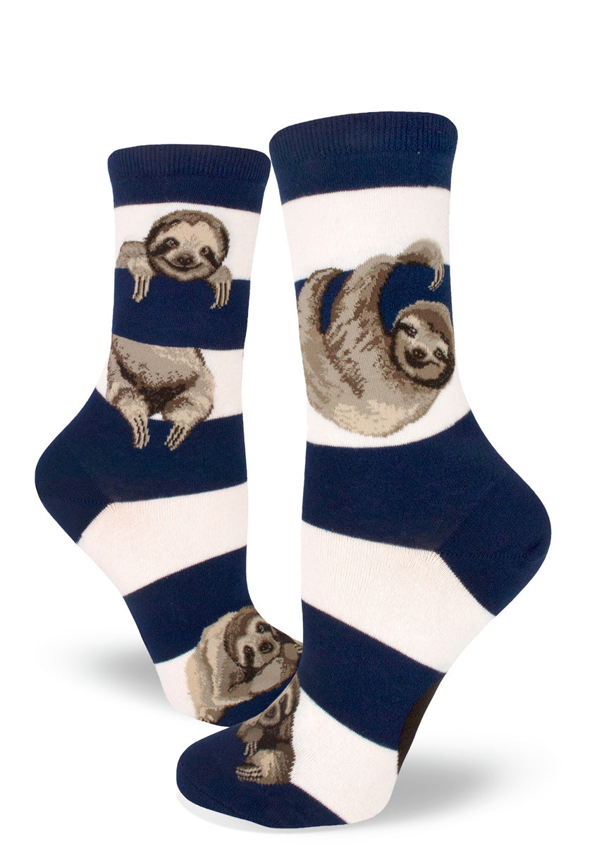 Cute sloth socks for women with sloths hanging between stripes in navy and white