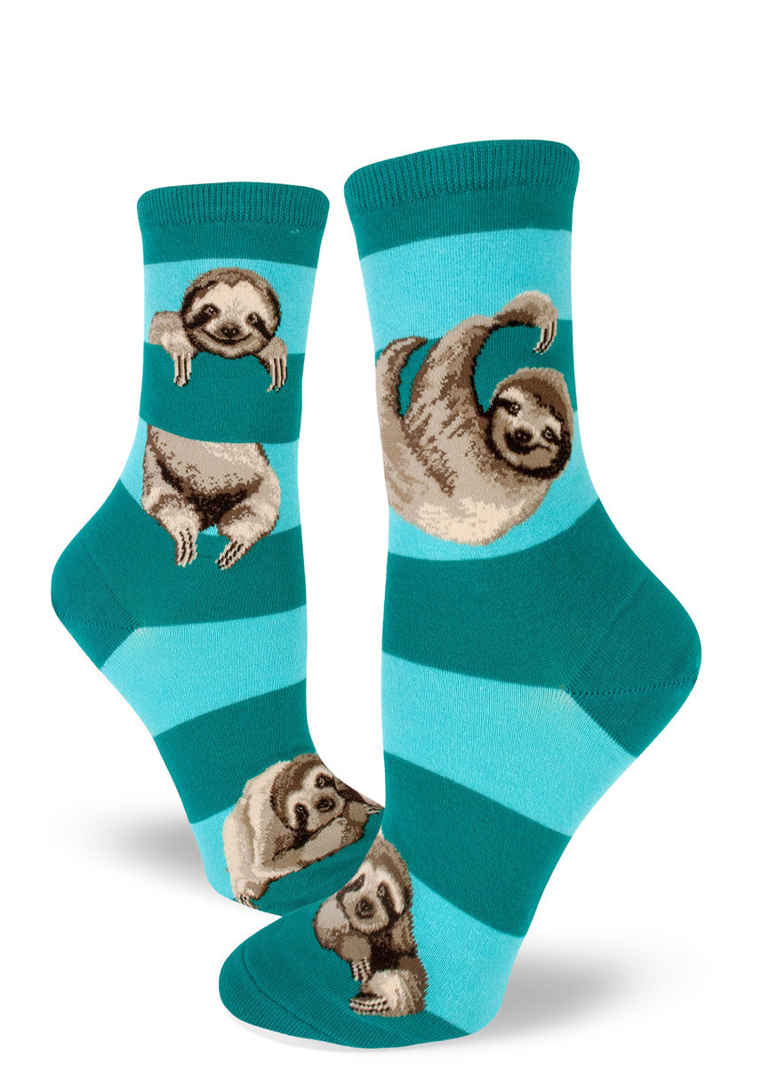 Cute sloth socks for women with sloths hanging between stripes in teal