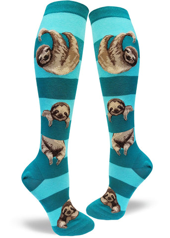 Knee-high sloth socks for women with sloths hanging on teal stripes
