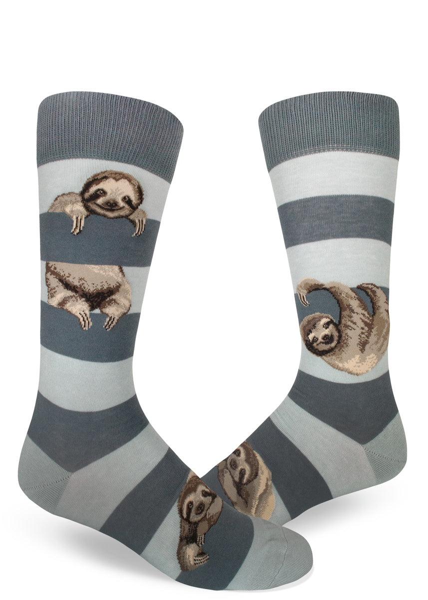 Sloth socks for men with cute sloths hanging between gray stripes
