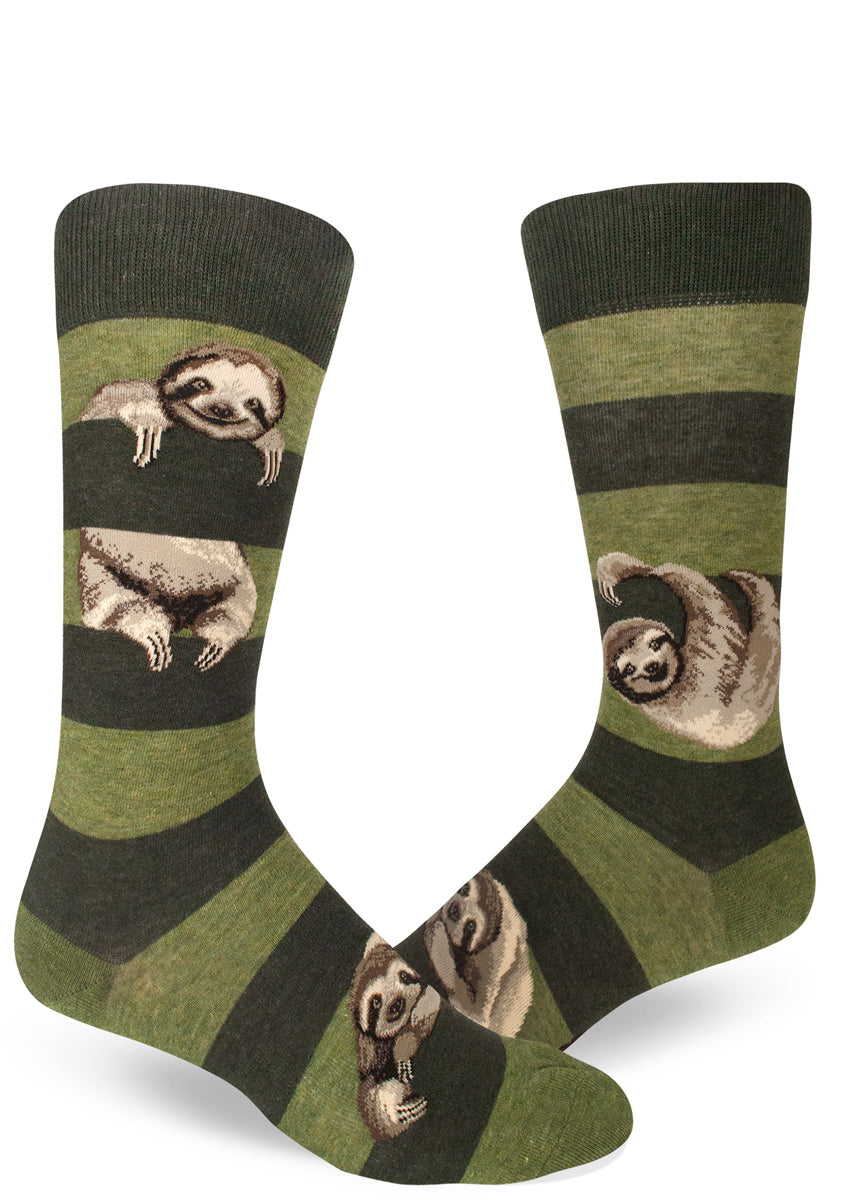Sloth socks for men with cute sloths hanging between green stripes