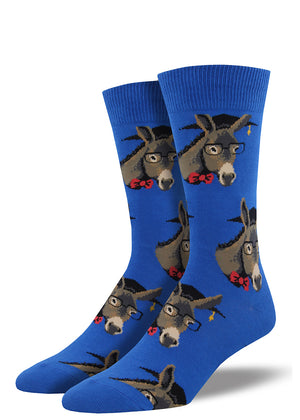 Smart ass donkey socks for men have donkeys wearing graduation caps, glasses and bow-ties.
