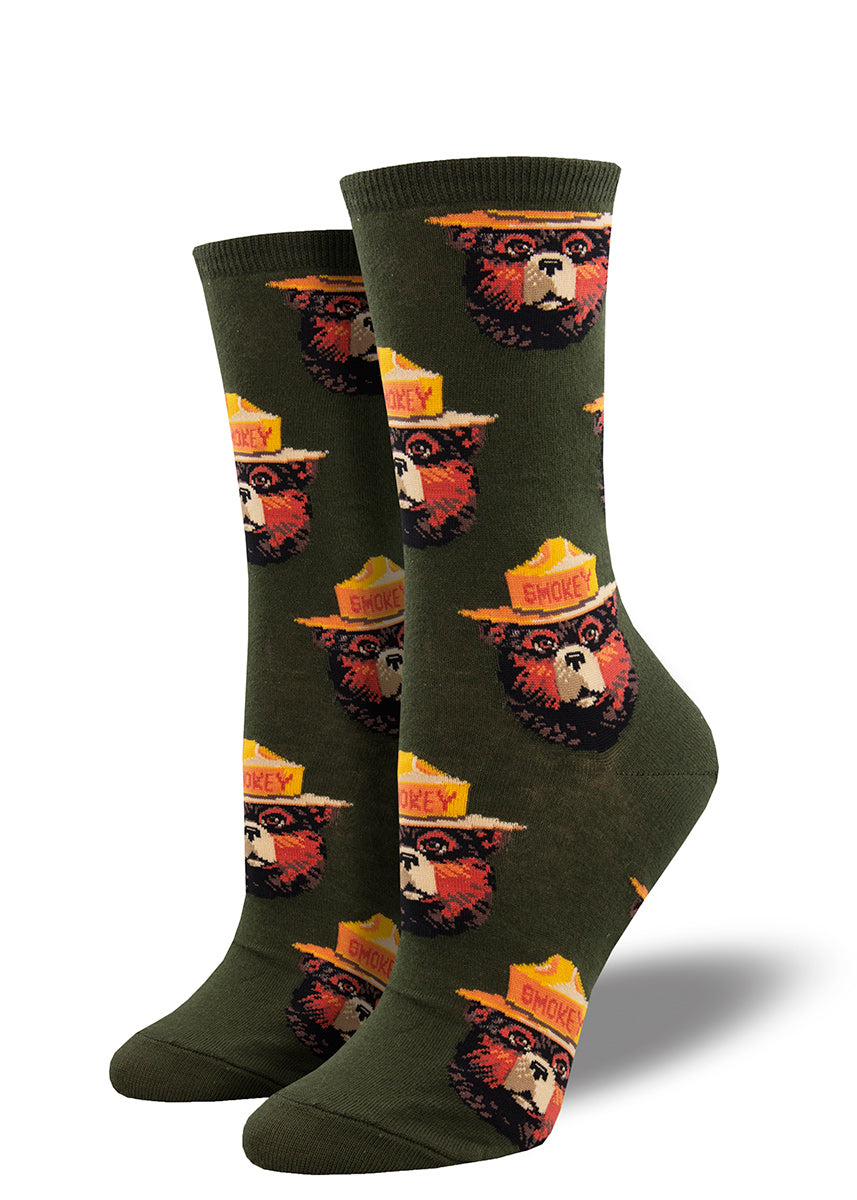 Smokey Bear crew socks for women feature portraits of Smokey in his signature hat.