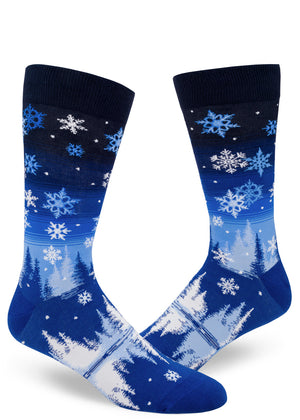 Snowflake socks for men with snow and trees in the night sky