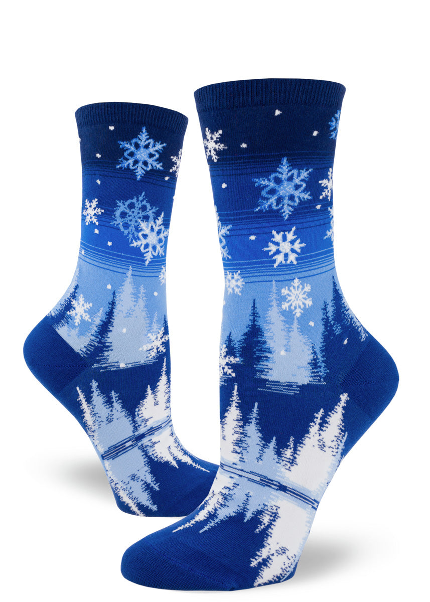 Snowflake socks for women feature a beautiful winter snow scene.