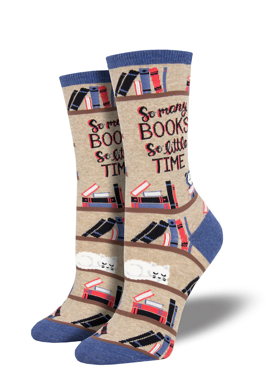 "Cute book socks for women with bookshelves, a cat and the words ""So many books, so little time"""