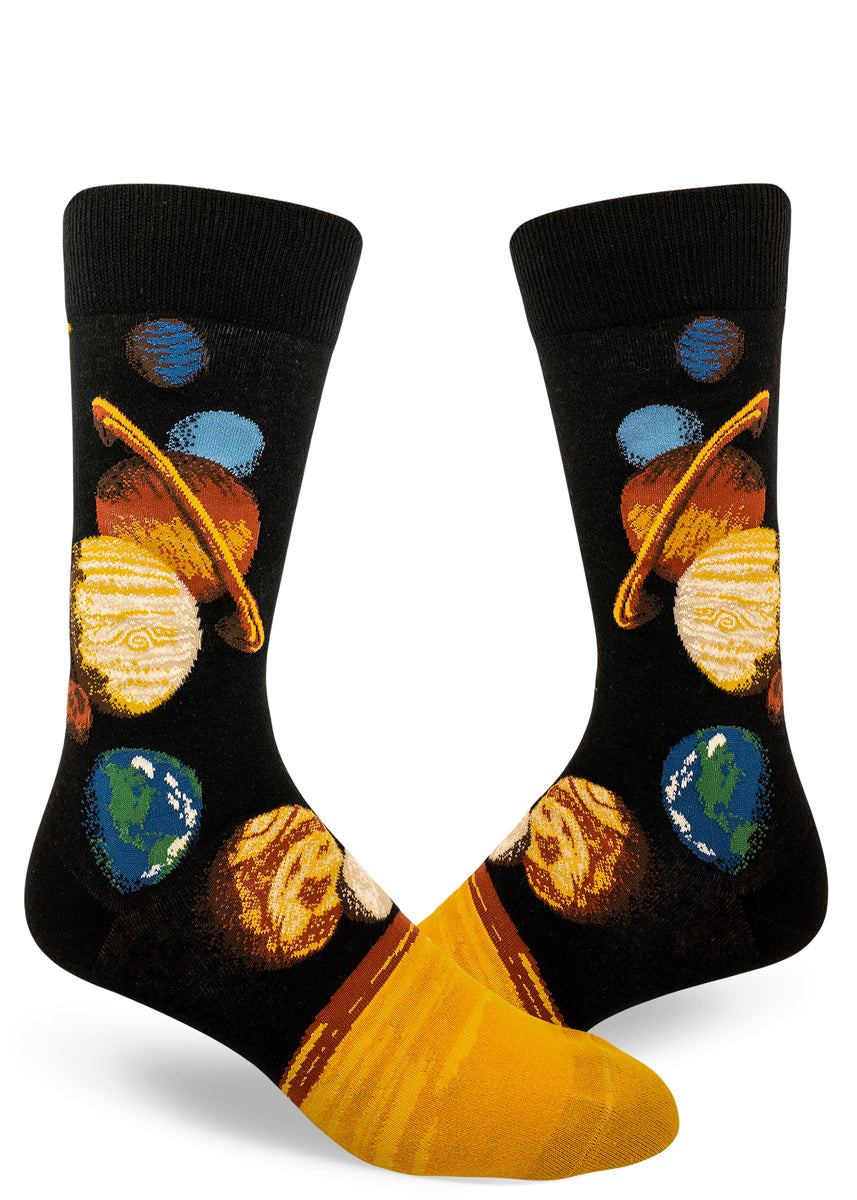 Solar system socks for men with planets in space on a starry black background