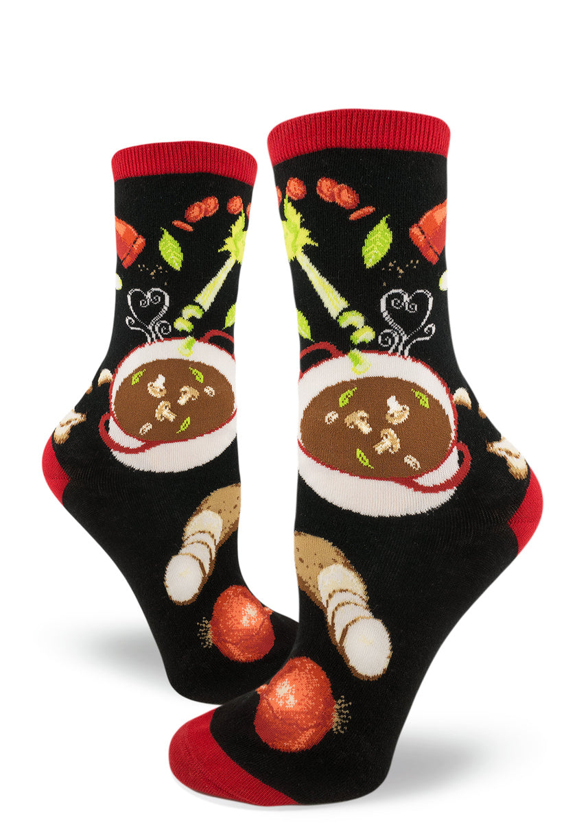 Soup socks for women with soup pots and vegetables like onions, potatoes, carrots and celery